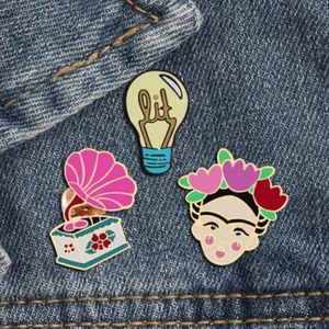Frida Kahlo Vintage Lit Enamel Pin Set of Three